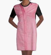 Female pink shirt on the model with a marked breasts Graphic T-Shirt Dress