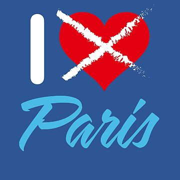 "White and blue ""I hate Paris"" with red crossed heart, for T-Shirts, Stickers, etc. on transparent background by MaxalTamor"
