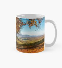 forest in red foliage on sunny autumn day Mug