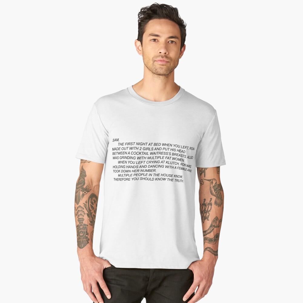 Anonymous Letter to Sammi Men's Premium T-Shirt Front