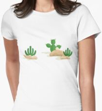 Desert mexican landscape with cacti Women's Fitted T-Shirt