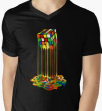 Rainbow Abstraction melted rubiks cube Men's V-Neck T-Shirt