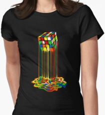 Rainbow Abstraction melted rubiks cube Women's Fitted T-Shirt