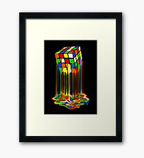 Rainbow Abstraction melted rubiks cube Framed Print