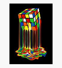Rainbow Abstraction melted rubiks cube Photographic Print