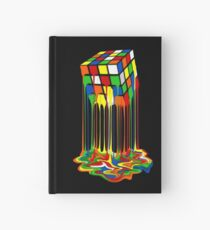 Rainbow Abstraction melted rubiks cube Hardcover Journal