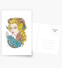 Girl horns, blue roses Postcards
