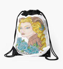 Girl horns, blue roses Drawstring Bag