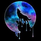 Howling Wolf - Full Moon - watercolour - Art - Trend - Splatter- Gift - Universe - Space - Galaxy by Cheesybee