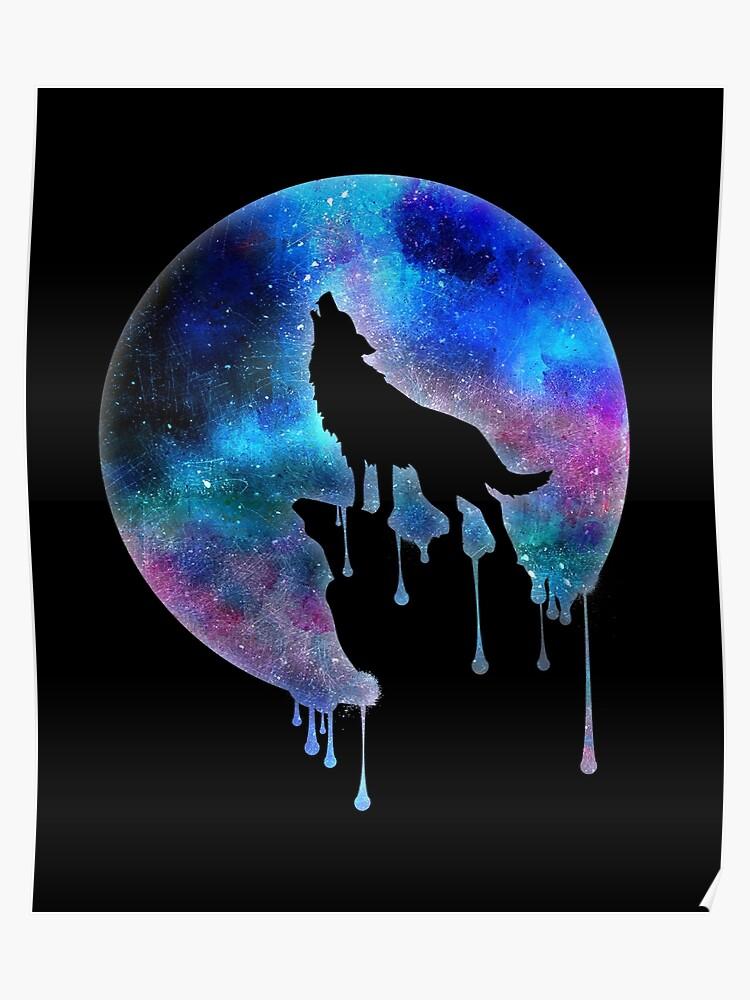 Loup Hurlant Pleine Lune Aquarelle Art Tendance Splatter Cadeau Univers Espace Galaxie Poster