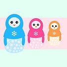 «Pingüinos de caramelo matrioshka de invierno» de EuGeniaArt