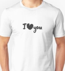 Calligraphy Lettering I Love You with a Heart Unisex T-Shirt