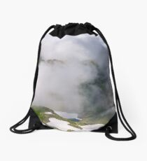 cloud formation in mountains on high altitude Drawstring Bag