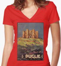 Apulia Castle del Monte vintage Italian travel ad Women's Fitted V-Neck T-Shirt
