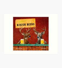 Will Bullas / art print / two buck beers / humor / animals / deer Art Print