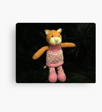 Knitted ginger cat Canvas Print