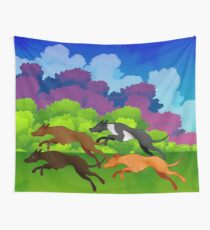 Greyhounds: A run in the park. Wall Tapestry