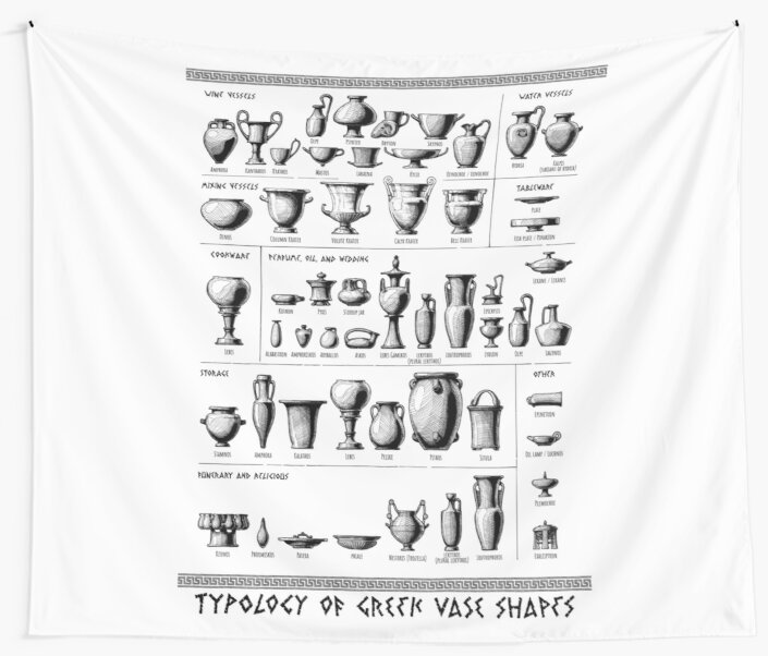 Typology Of Greek Vase Shapes Wall Tapestries By Catmadepattern