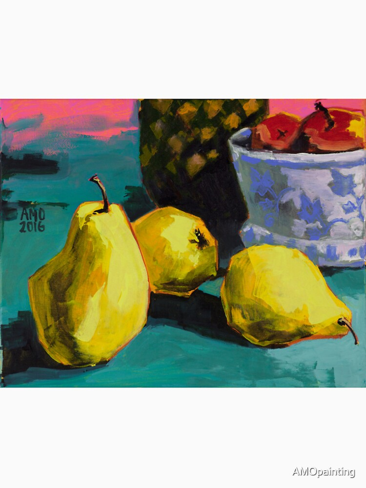 Still life with pears and pineapple by AMOpainting