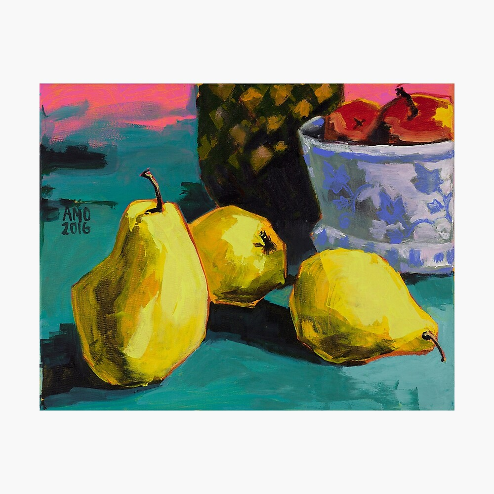 Still life with pears and pineapple Photographic Print