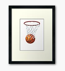 Basketball and Hoop Net Framed Print