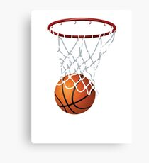 Basketball and Hoop Net Canvas Print