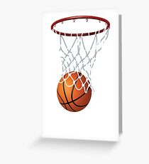 Basketball and Hoop Net Greeting Card
