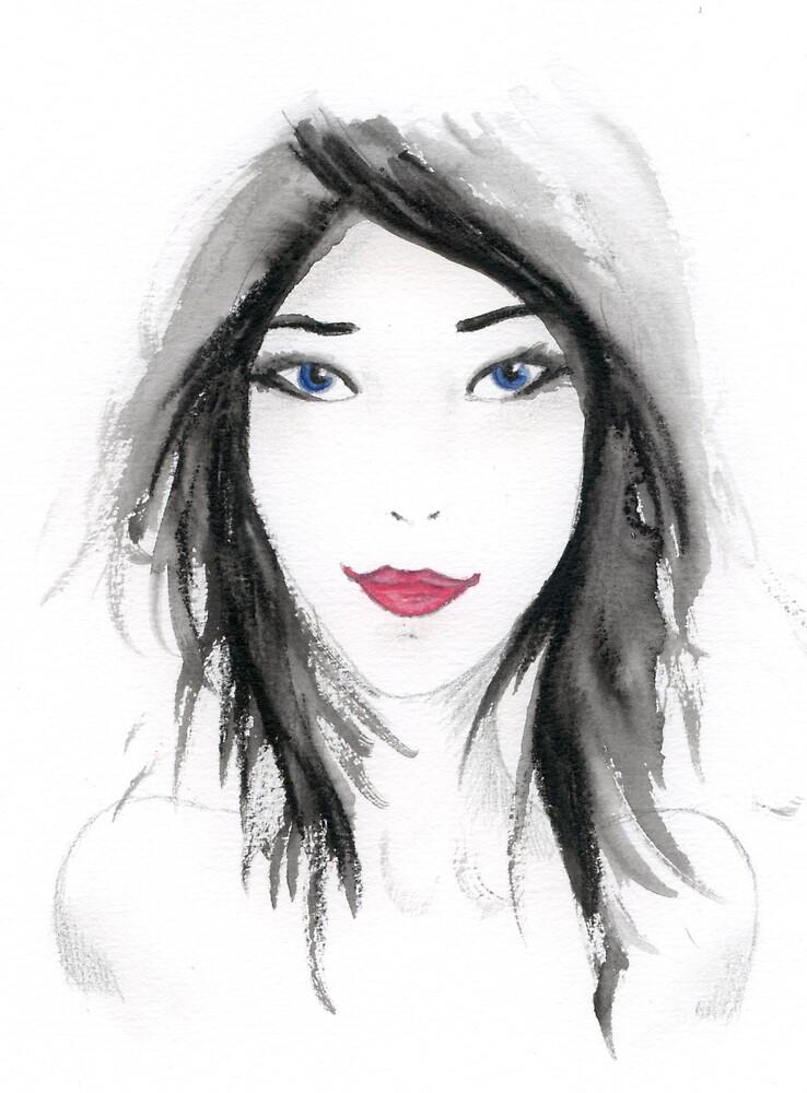 Watercolour girl by Ilokatz