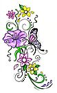 Decorative Butterfly Floral Design by EverIris
