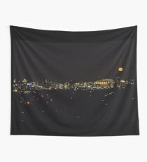 Orange Supermoon over Carrier Dome Syracuse NY Wall Tapestry