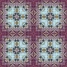 Batik Inspired Blue and Purple Panels With Gold Detail by Ruth Moratz