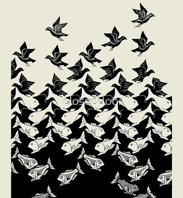Fish and Birds Art Deco Tessellation by closeddoor