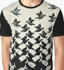 Fisch und Vögel Art Deco Tessellation Grafik T-Shirt