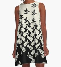 Fish and Birds Art Deco Tessellation A-Line Dress