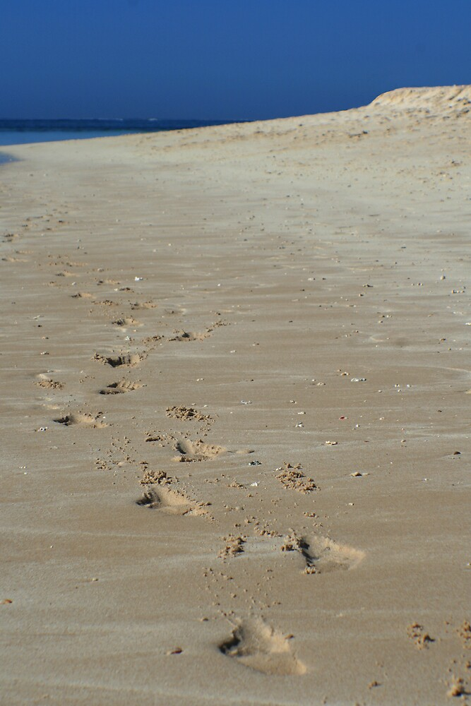 Footprints in the Sand, Turquoise Bay by Leigh Penfold