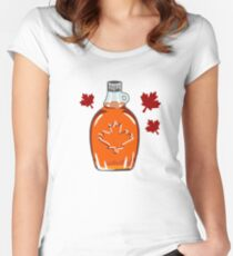Super Canadian Maple Syrup Pattern Fitted Scoop T-Shirt