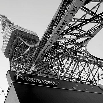 Tokyo Tower Japan Black & White by dennischoong