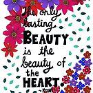 Die einzige dauerhafte Schönheit, Rumi-Zitat, Beschriftung, Blumen-und Blatt-Gekritzel, inspirierend von Eneri Collection