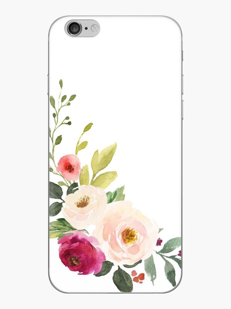 Aquarell-Burgunder-Rosa-Blumen-Blumenstrauß von junkydotcom