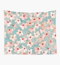 Shabby Chic Hibiscus Patchwork Pattern in Peach & Mint Wall Tapestry