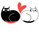 Seamless funny pattern of enamored cats by Tanor