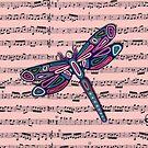 Dragonfly Music Sheet Pink by Lisafrancesjudd