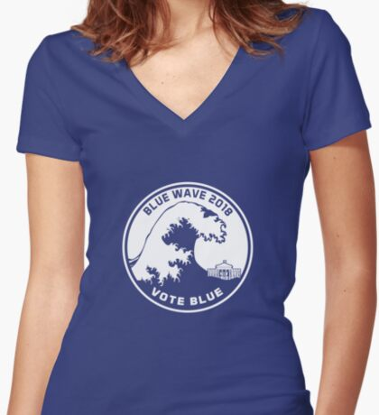 Blue Wave 2018 Vote Blue Women's Fitted V-Neck T-Shirt