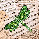 Dragonfly Music Sheet Green by Lisafrancesjudd