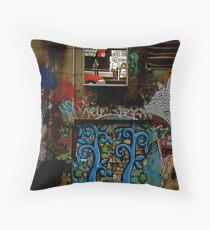Graffiti and Lightbox Hosier Lane Throw Pillow