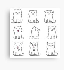 Nine cute white kittens Canvas Print