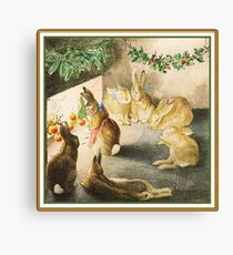 Bunnies gathered around the fire roasting apples by Beatrix Potter Canvas Print