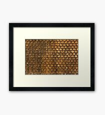 Weathered wall of wooden shingles Framed Print