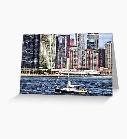 Chicago IL - Sailing on Lake Michigan Greeting Card