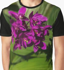Hot Pink Orchids - Exotic Tropical Shadows Graphic T-Shirt